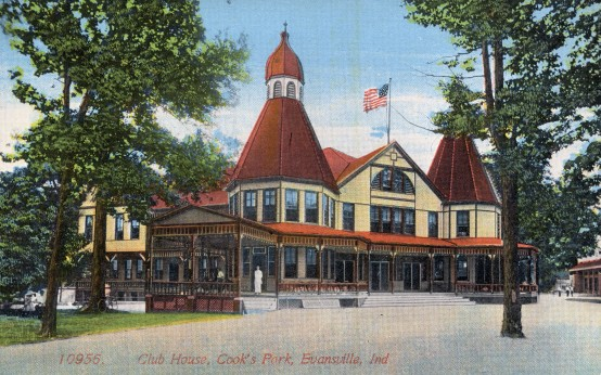 Postcard of the club house at Cook's Park in Evansville, Indiana, c. 1907. Source: Evansville Postcard collection, RH 033-395.