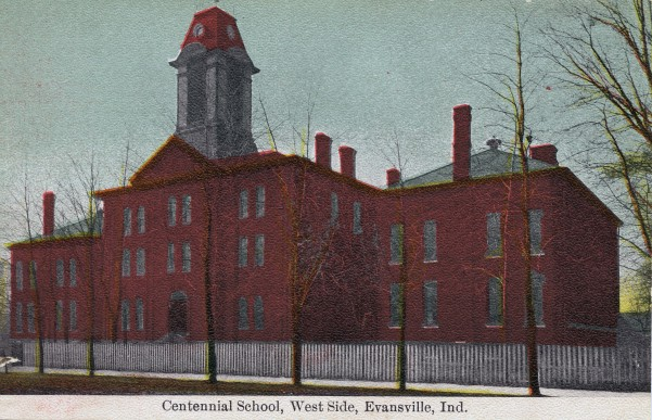 Postcard of the old Centennial School, c. 1913. Source: Evansville Postcards collection, RH 033-538.