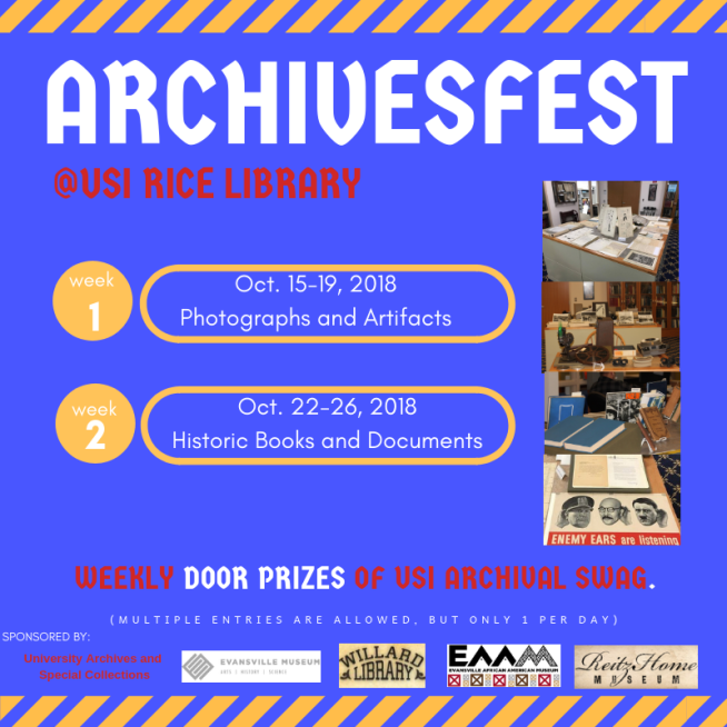 ArchivesFest is October 15-19 and October 22-26 in the University Archives and Special Collections at Rice L.ibrary.