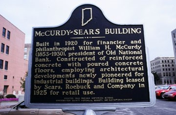 Built in 1920 for financier and philanthropist William H. McCurdy (1853-1930), president of Old National Bank. Constructed of reinforced concrete with poured concrete floors, employing architectural developments newly pioneered for industrial buildings. Building leased by Sears, Roebuck and Company in 1925 for retail use. Source: https://www.in.gov/history/markers/393.htm