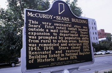 This very successful store was Sears' first retail outlet located outside a mail order city. Sears' expansion to department stores was prompted by population shifts from rural to urban areas. Building was remodeled and enlarged 1937, 1943, 1946. Store closed 1975. Renovated and restored 1991. Building listed in National Register of Historic Places 1979. Source: https://www.in.gov/history/markers/393.htm