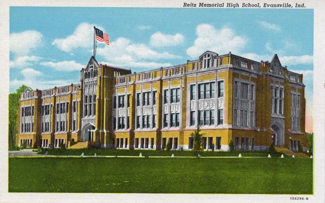 Reitz Memorial High School postcard, n.d. Source: Evansville Postcards collection, RH 033-548.