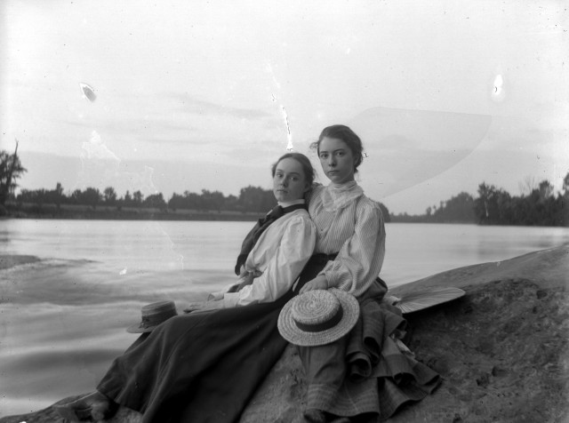 Here's a photograph of Fannie (on the right) and her friend, Eloise Mumford, sitting on the banks of the Wabash River in New Harmony. The date of this photograph is unknown, but since Fannie was born in 1877 and looks to be a teenager/young woman here, this is probably in the 1890's. Source: Don Blair collection, MSS 247-4113.