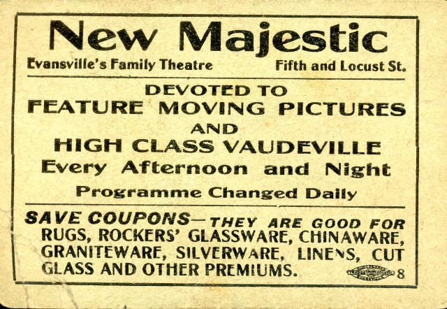 Ticket to the New Majestic Theatre, n.d. Source: Ken McCutchan, MSS 004-10-11.