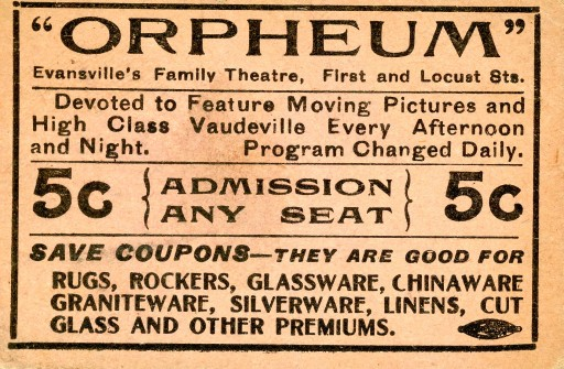 Ticket to the Orpheum, n.d. Source: Ken McCutchan, MSS 004-10-11.