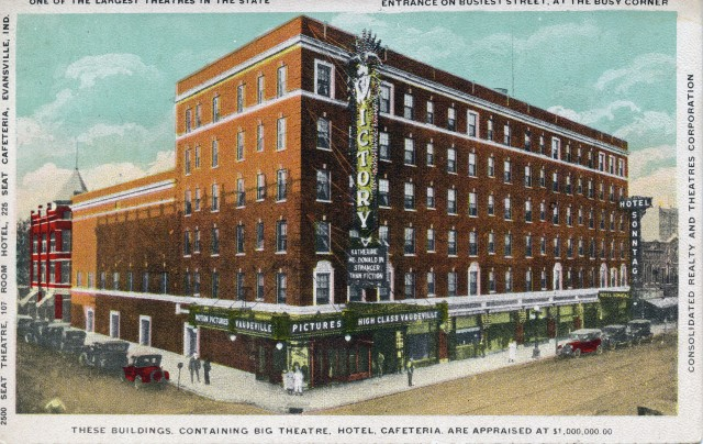 Victory Theatre in Evansville, Indiana, c. 1916. Source: Regional Postcards collection, RH 033-477.