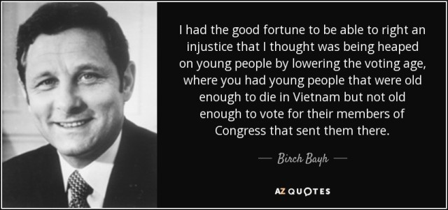 Birch Bayh speaks on his senatorial service for the United States.