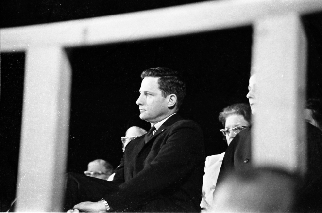 U.S. Senator listening to a speech by Vice President Hubert Humphrey in Evansville, IN, 1966. Source: Sonny Brown collection (MSS 228-1745).