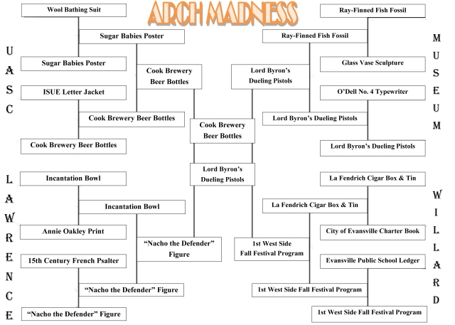 In the Arch Madness championship round, we have the Cook Brewery Beer Bottles (from UASC) facing off against the Evansville Museum's Lord Byron's Dueling Pistols.