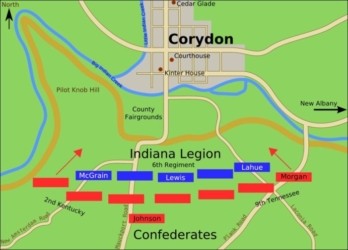 Map of Battle of Corydon, n.d. Source: https://civilwartalk.com/threads/battle-of-corydon-indiana-july-9-1863.74912/
