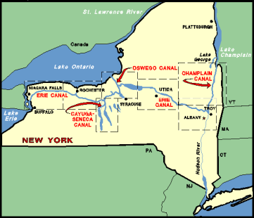Map of canals in New York, n.d. Source: http://geo.msu.edu/extra/geogmich/eriecanal.html