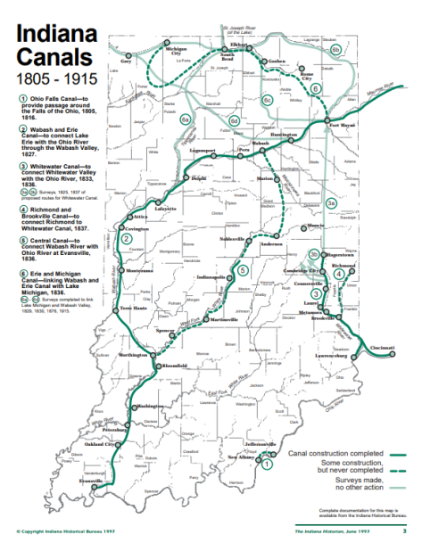 Map of canals in Indiana, n.d. Source: https://www.in.gov/history/files/canalmania.pdf