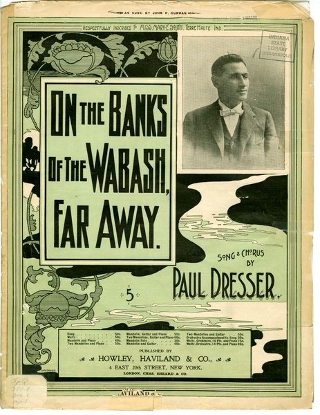 "Sheet music to ""On the Banks of the Wabash Far Away"", n.d. Source: https://bit.ly/2J9101i"