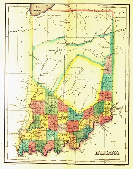 Map of Indiana, 1822. Source: Rose Pearl collection, MSS 146.