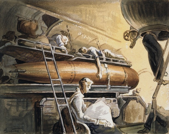 """Slumber Deep, 1944.  Completely relaxed in exhaustion, crewmen of a U.S. Navy submarine do """"bunk duty"""" above a deadly but quiescent torpedo. A shipmate whiles away his off-duty interlude by reading. Source: https://bit.ly/2XTcifs"""