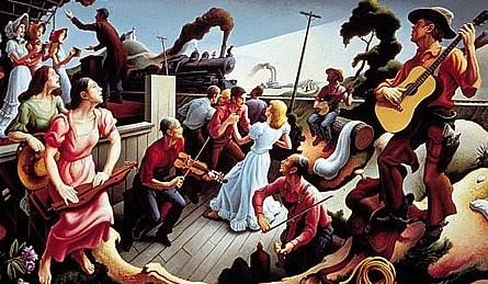 The Sources of Country Music portrays 17 nearly life-sized figures and illustrates the various cultural influences on country music, including a train, a steamboat, a black banjo player, country fiddlers and dulcimer players, hymn singers and square dancers. The painting memorializes entertainer Tex Ritter as the singing cowboy on the right. Image provided by The Country Music Foundation. Source: https://bit.ly/2YS01JL
