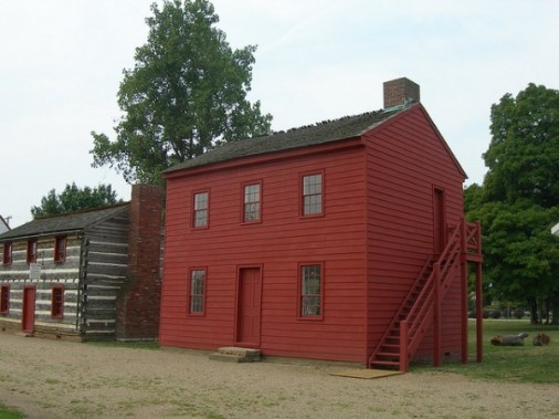 """First capitol building, """"Red House"""" in Knox County, Indiana, n.d. Source: https://bit.ly/2Gbu2N2"""