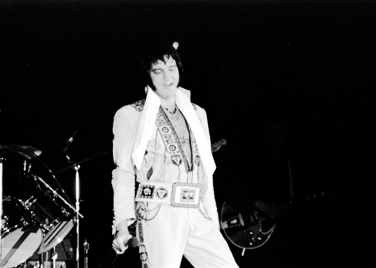 Elvis Presley in concert on October 24, 1976 at Roberts Municipal Stadium. Source: Gregory Smith collection, MSS 037-0767.