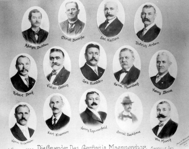 Germania Maennerchor founders in Evansville, Indiana, 1914. Source: MSS 157-0118.