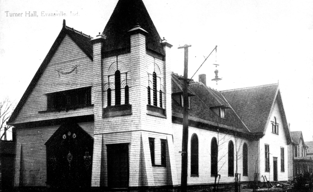 Turner Hall (Central Turners) in Evansville, Indiana, n.d. Source: MSS 157-0551.