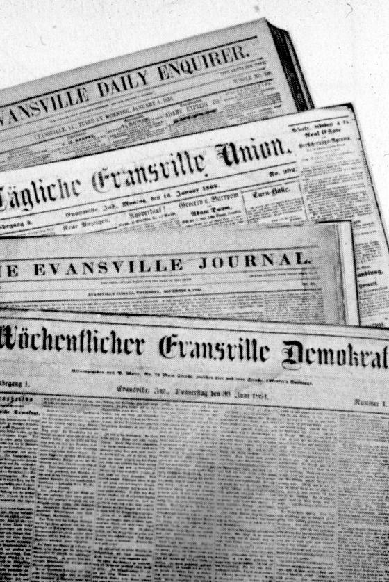 Four local newspapers: Evansville Journal (1834-1936), Evansville Daily Enquirer (1858-1859),  Tägliche Evansville Union (1866-1885), and Wöchentlicher Evansville Demokrat (1864-1918). Source: MSS 184-0012.