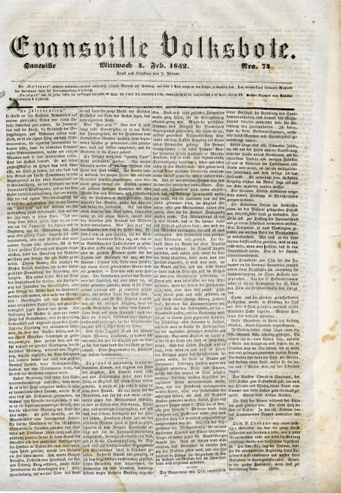 February 4, 1852 Edition of the Evansville Volksbote newspaper. Source: Arthur Rohner collection (MSS 069).