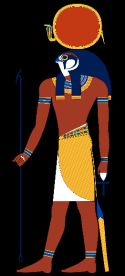 The ancient Egyptians worshiped a god called Ra, who had the head of a hawk and wore the sun as a blazing disk in his crown. Source: https://en.wikipedia.org/wiki/Ra