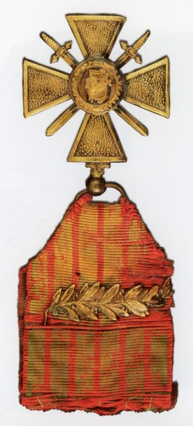 French Croix de Guerre awarded to Cher Ami. Source: National Museum of the U.S. Army. The Great War. U.S. Army artifacts. Washington, D.C: Center of Military History, United States Army, 2018. Special Collections, D503 .G74 2018.