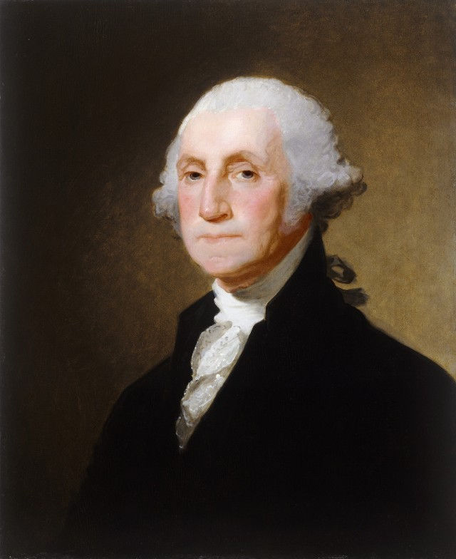Portrait of George Washington by Gilbert Stuart, c. 1821. This portrait hangs in the National Gallery of Art in Washington, DC.  Source: https://bit.ly/2OaBrQK