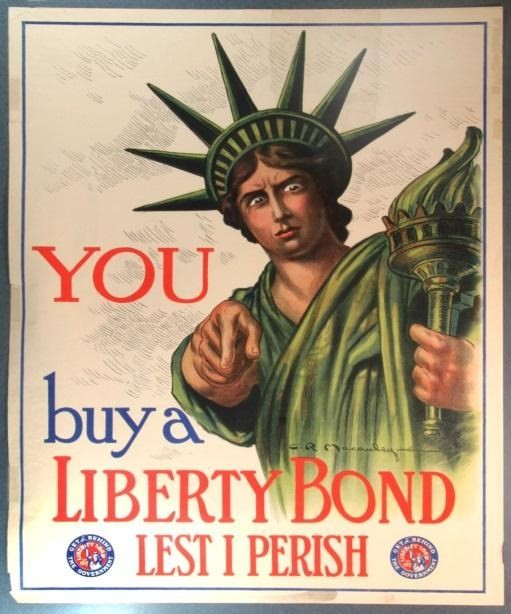 Poster by Charles Raymond Macauley, 1917. Source: https://www.nps.gov/articles/statue-of-liberty-and-war-bonds.htm