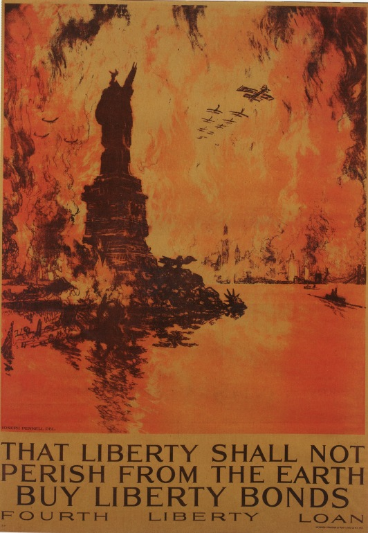 "That Liberty Shall Not Perish From the Earth by Joseph Pennell, 1918. Color lithograph on paper, 41"" by 28 1/4""."