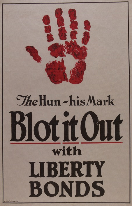 "The Hun--His Mark, Blot it Out by James Allen St. John, 1917. Color lithograph on paper, 42 ¼"" by 28 ¼""."