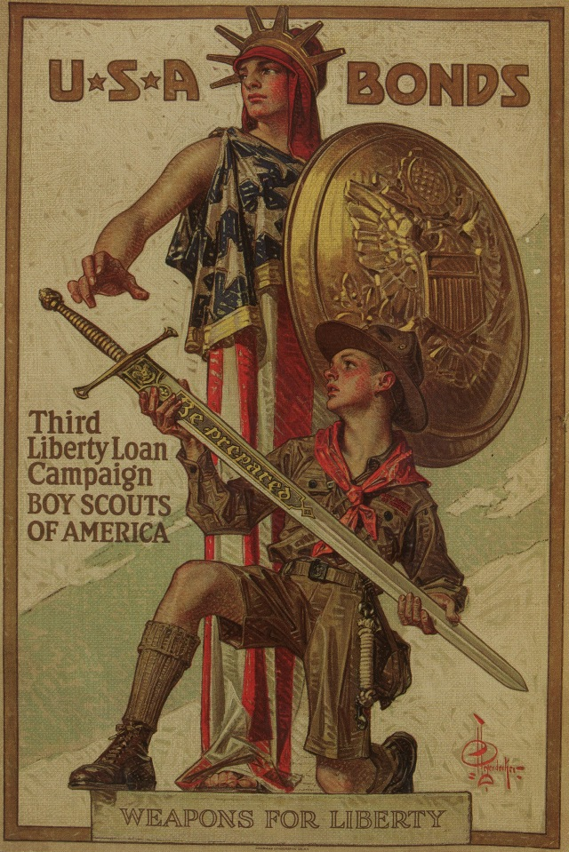 "USA Bonds by Joseph Christian Leyendecker, 1918. Color lithograph on paper, 29 7/8"" by 19 7/8""."