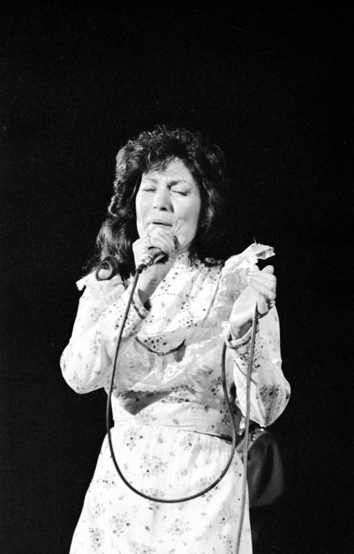 Loretta Lynn performing at Roberts Stadium on March 1977. Source: Greg Smith Collection at University of Southern Indiana (MSS 034-1499).