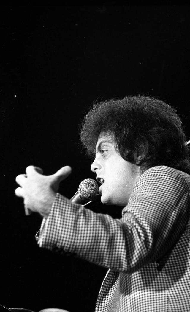 Billy Joel performing at Roberts Stadium on April 24, 1979. Source: Greg Smith Collection at University of Southern Indiana (MSS 034-2986).