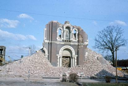 Assumption Catholic Church nearly totally razed, May 1965. Source: Schlamp-Meyer Family collection, MSS 157-2673.