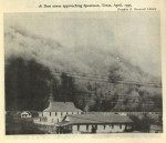 Dust storm approaching Spearman, Texas, April, 1935. Photograph from the Franklin D. Roosevelt Library. Source: Leuchtenburg, William E. Franklin D. Roosevelt and the New Deal, 1932-1940.