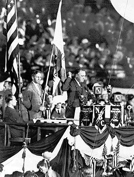 Governor Franklin D. Roosevelt delivers his acceptance speech at the Democratic National Convention in Chicago.