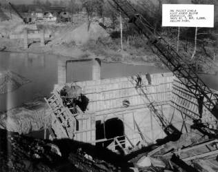 A local PWA project was the construction of the First Ave. bridge over Pigeon Creek. This November 6, 1936 photo depicts filling forms necessary to build the bridge. Source: MSS 055-021, Mack Saunders collection.