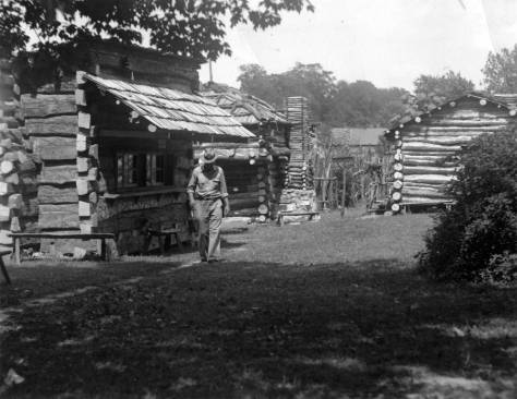 Lincoln Pioneer Village in Rockport, IN. These 14 cabins are replicas of those Abraham Lincoln would have known. WPA work here from 1935-1936 included landscaping and the building of cabins and a lake. Source: MSS 157-1045, Schlamp-Meyer Family collection.
