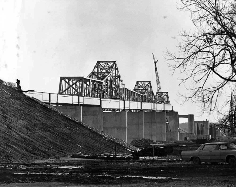 Construction of southbound twin bridge between Evansville, Indiana and Henderson, Kentucky, c. 1965.