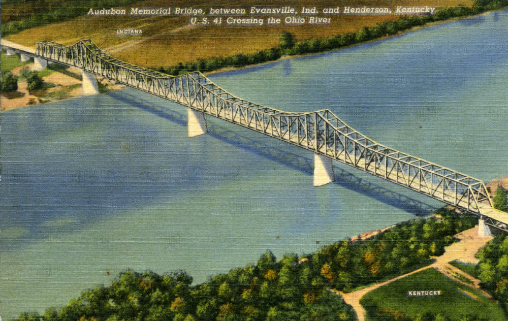 Audubon Memorial Bridge, between Evansville, Indiana and Henderson, Kentucky.