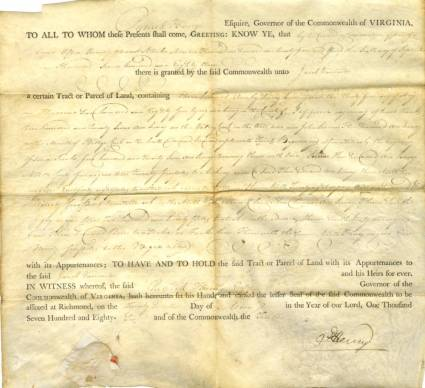 Patrick Henry 1786 Land Grant.