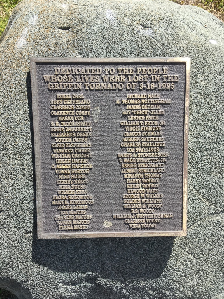 Memorial honoring the lives lost in Griffin, Indiana.