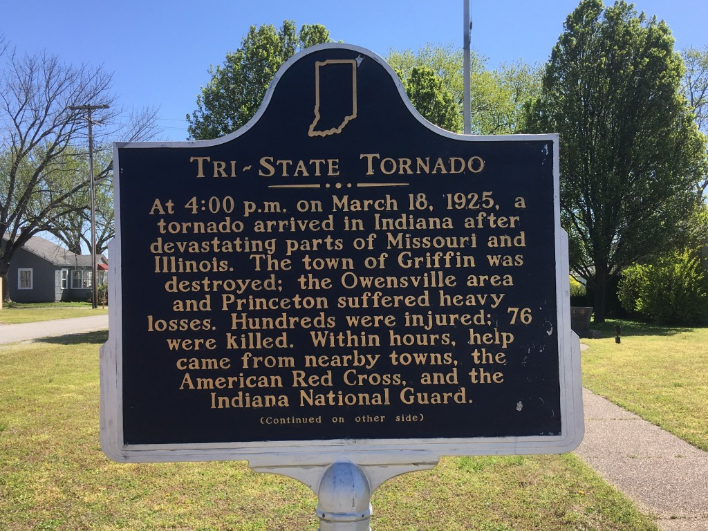 Tri-State Tornado: At 4:00 PM on March 18, 1925, a tornado arrived in Indiana after devastating parts of Missouri and Illinois. The town of Griffin was destroyed; the Owensville area and Princeton suffered heavy losses. Hundreds were injured; 76 were killed. Within hours, help came from nearby towns, the American Red Cross, and Indiana National Guard.
