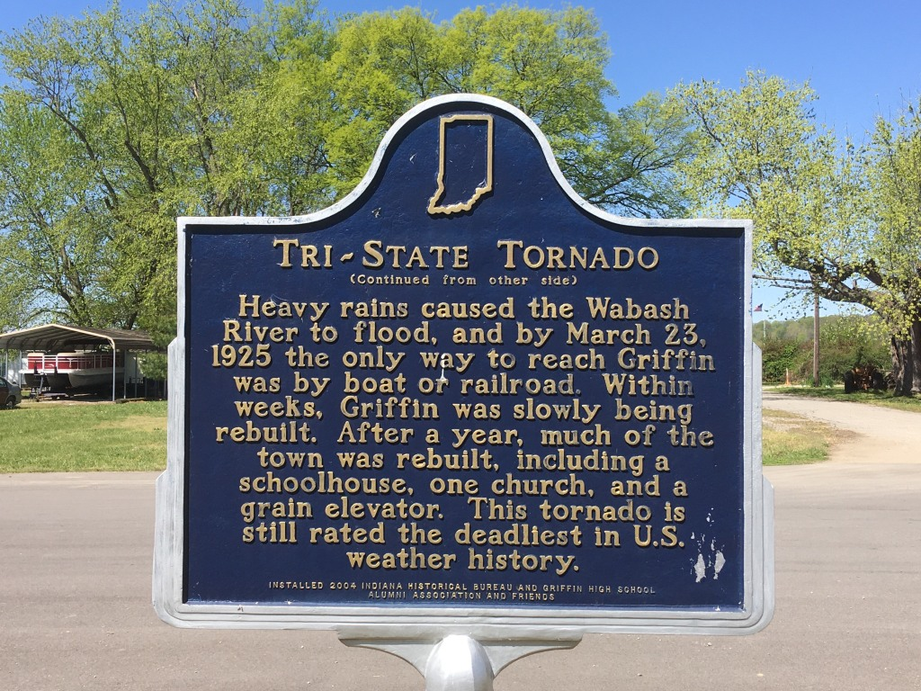 Tri-State Tornado: Heavy rains caused the Wabash River to flood, and by March 23, 1925, the only way to reach Griffin was by boat or railroad. Within weeks, Griffin was slowly being rebuilt. After a year, much of the town was rebuilt, including a schoolhouse, one church, and a grain elevator. This tornado is still rated the deadliest in US weather history.