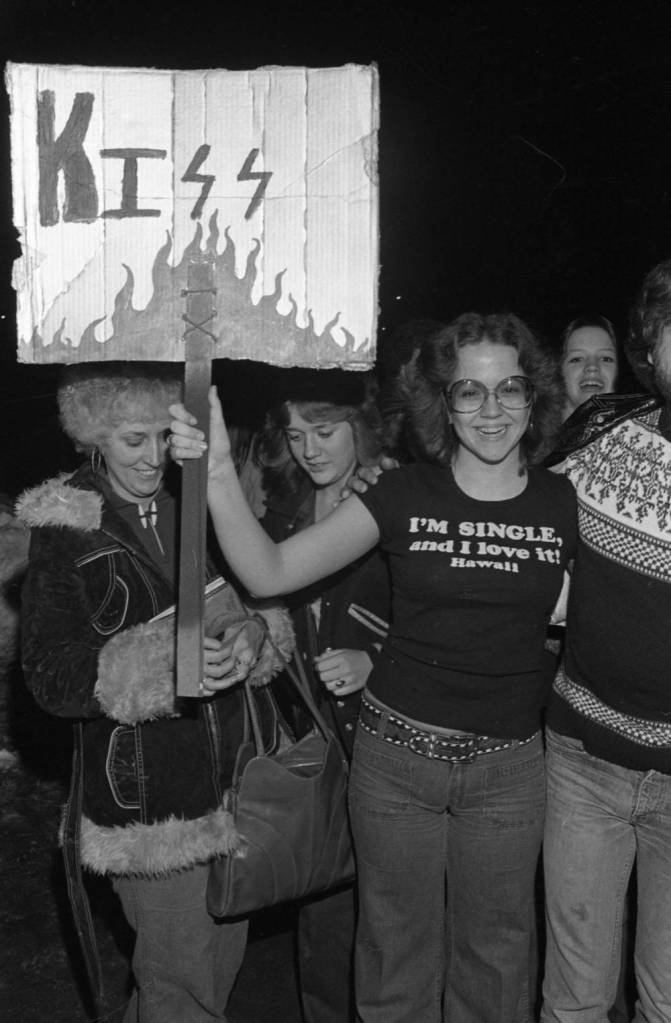 Female fans waiting in line for the Kiss concert, 1978.