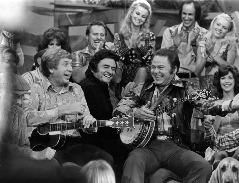Buck Owens, Johnny Cash, Roy Clark, and Barbi Benton, 1990.