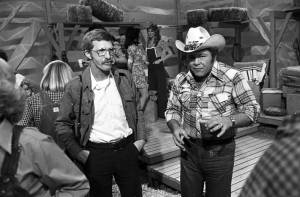 Sonny Brown and Roy Clark on the set of Hee Haw.