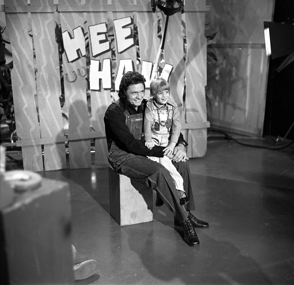 Johnny Cash with unidentified girl on Hee Haw, n.d.